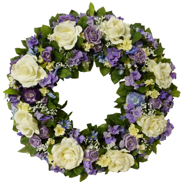 Purple White Silk Wreath Artificial Flowers Plants